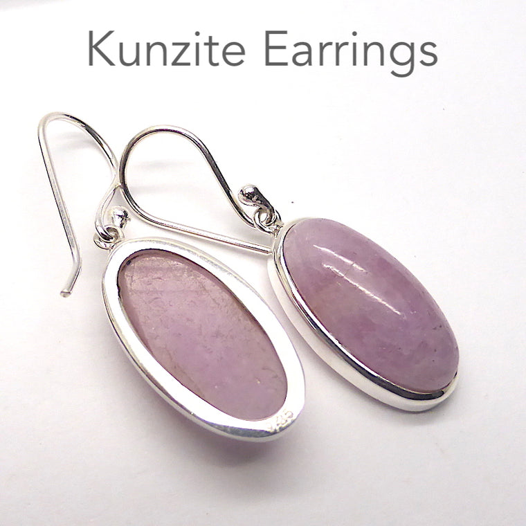 Kunzite Earrings, Teardrop Cabochon, 925 Sterling Silver p1