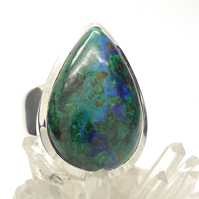 Azurite Malachite Ring | Teardrop Cabochon | A grade material from Montmorency Co, USA | 925 Sterling Silver | Quality Bezel Setting with generous band | US Ring Size 7 | AUS Size N 1/2 | Vision Quest and Manifest | Genuine Gemstones from Crystal Heart Melbourne Australia since 1986