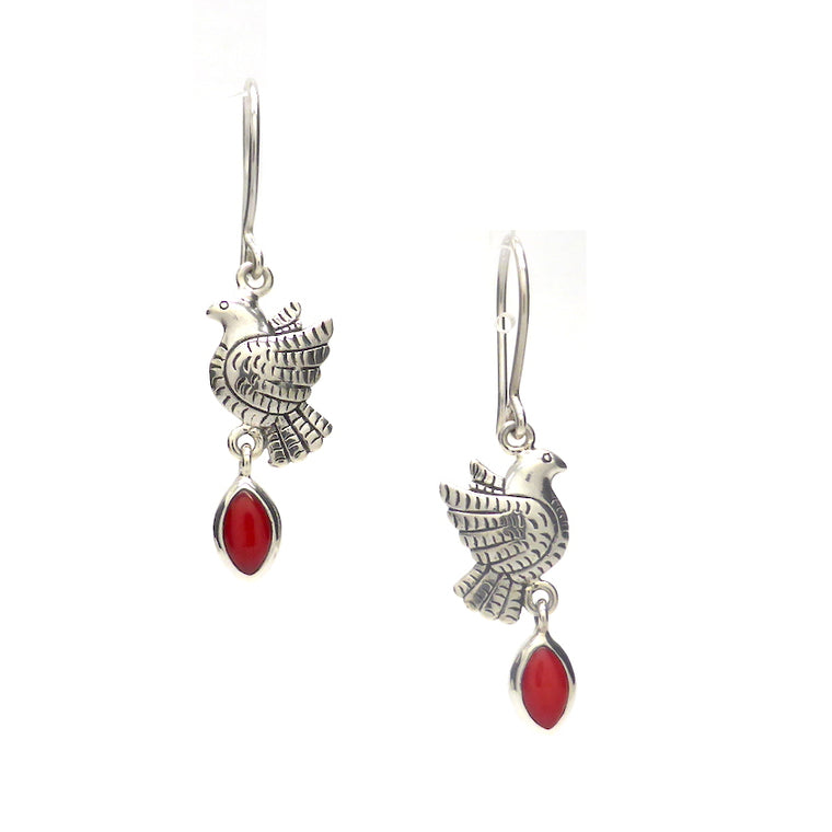 Frida Kahlo Earrings with Red Coral, 925 Silver, kt1