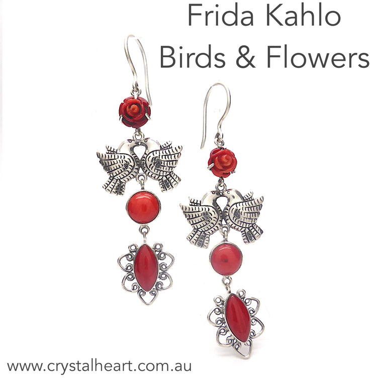 Frida Kahlo Earrings, Red Coral, 925 Silver, kt2