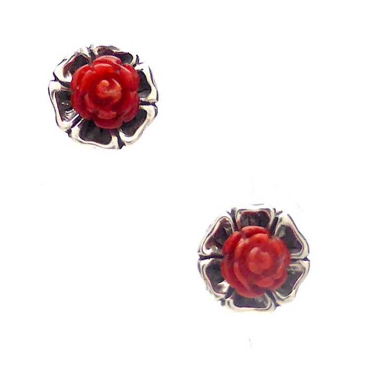 Stud Earrings, Frida Kahlo, Coral Roses, 925 Silver, kt5