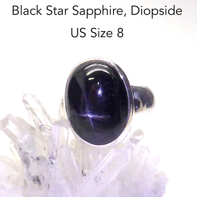 Black Star Sapphire Ring, Oval, 925 Silver g5