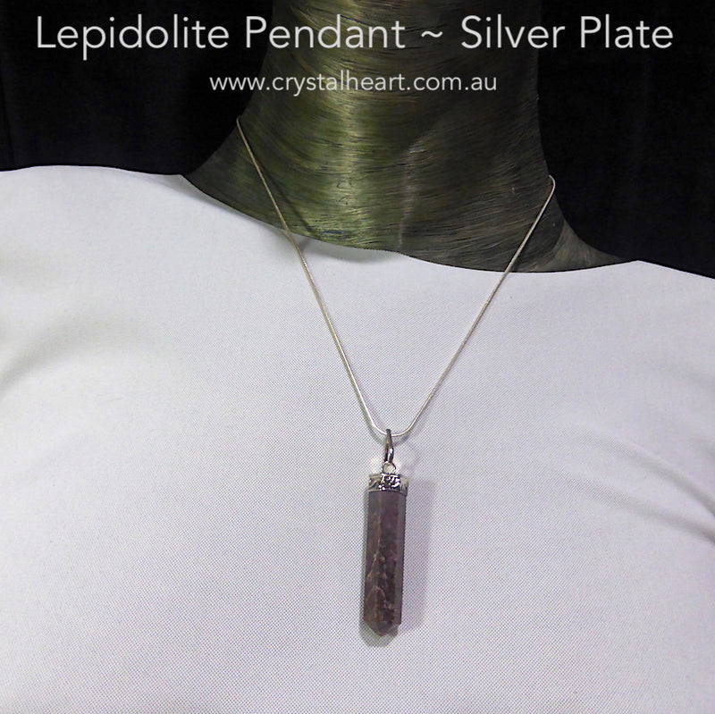 Lepidolite Pendant | Single Point | Silver Plated Base Metal | Peaceful Warrior | Libra | Genuine Gems from Crystal Heart Melbourne Australia since 1986