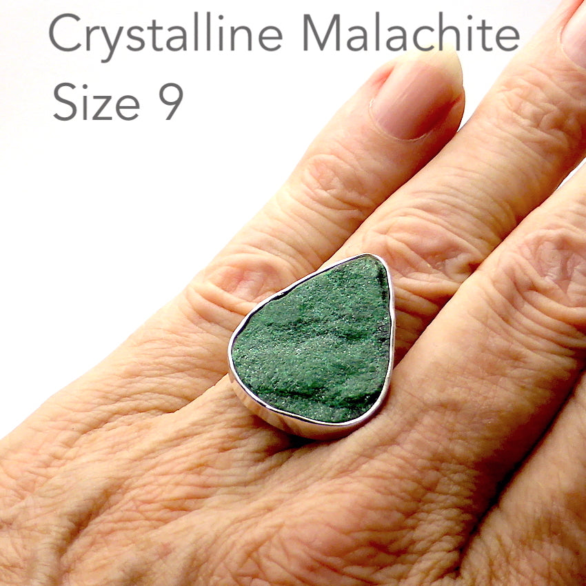Malachite Druse Ring | 925 Sterling Silver | Teardrop | US Size 9, AUS size R 1/2 | Crystalline Malachite Sparkles with Joy | Genuine Gems from Crystal Heart Melbourne Australia since 1986