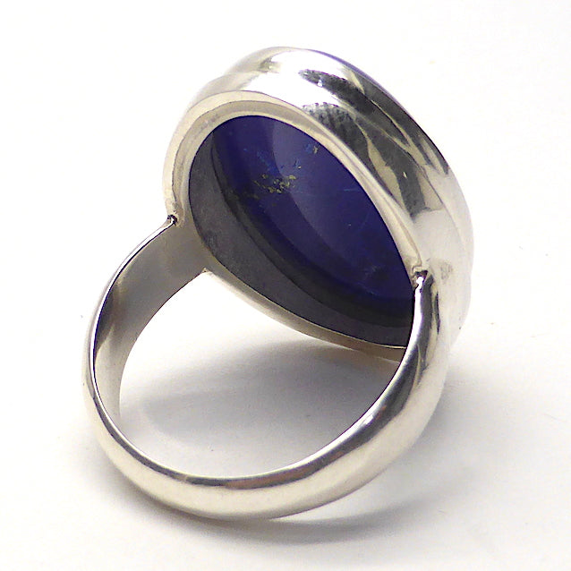 Lapis Lazuli Ring | Oval Cabochon | 925 Sterling Silver | US Size 8.25 | AUS Size Q | Natural stone deep blue spangled with Gold Pyrites | Classic setting, wide band | Sagittarius Libra Taurus Capricorn | Meditation | Mindfulness | Inner Truth | Genuine Gems from Crystal Heart Melbourne Australia since 1986