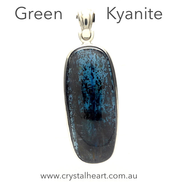 Green or Teal Kyanite Pendant | Ocean Kyanite | 925 Sterling Silver Besel | Uplift and protect the Heart | Taurus Libra Aries Gemstone | Genuine Gems from Crystal Heart Melbourne Australia since 1986