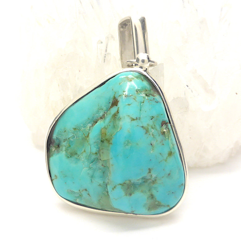 Turquoise Pendant | Mexico, close to Arizona | 925 Sterling Silver | Raw Nugget | Besel Set with oblong bail | Italian design | Genuine Gems from Crystal Heart Melbourne since 1986