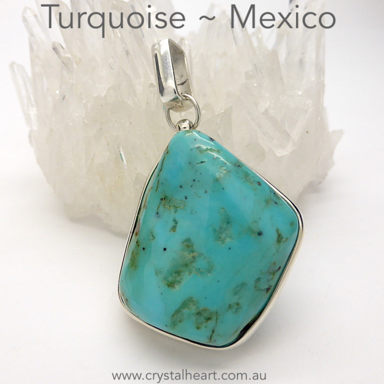 Turquoise Pendant, Mexico, Raw Freeform Nugget, 925 Silver f1