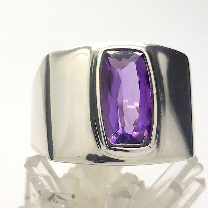 Amethyst Ring | AAA Flawless rectangular stone | Sterling Silver | US Size 7.5 or 8.5 | AUS Size O1/2 or Q 1/2 | Italian Design | Angular Post Modern | Unisex | Stone of Meditation, purifying | Genuine Gems from Crystal Heart Melbourne Australia since 1986