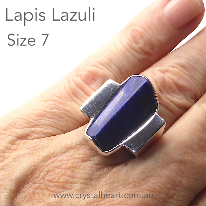 Lapis Lazuli Ring | Postmodern Unisex Design | Geometry as Art | 925 Sterling Silver | US Size 7, AUS N 1/2 | Genuine gems from Crystal Heart Melbourne Australia since 1986