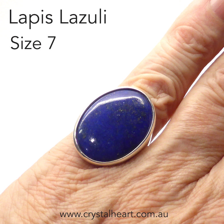 Lapis Lazuli Ring | Oval Cabochon | 925 Sterling Silver | US Size 7 | AUS Size N 1/2 | Natural stone deep blue spangled with Gold Pyrites | Classic setting, wide band | Sagittarius Libra Taurus Capricorn | Meditation | Mindfulness | Inner Truth | Genuine Gems from Crystal Heart Melbourne Australia since 1986