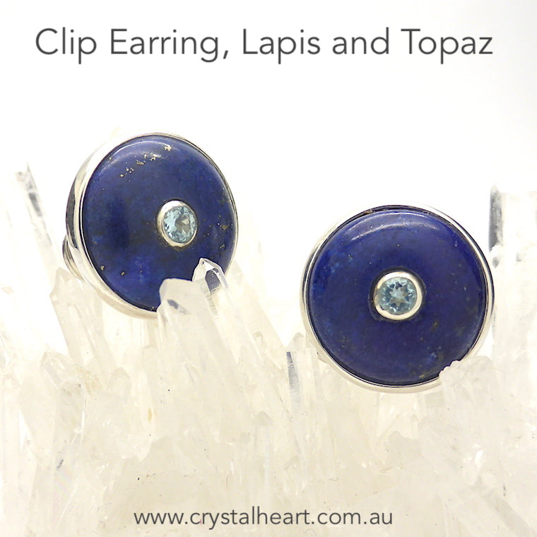 Lapis Lazuli Earrings, Clip, Faceted Blue Topaz, 925 Silver, F1