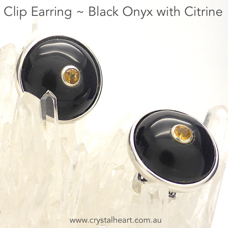 Black Onyx Earrings, Clip, Faceted Citrine, 925 Silver, F1