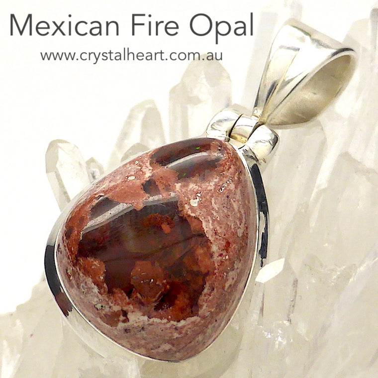 Mexican Fire Opal Pendant, 925 Silver, g2