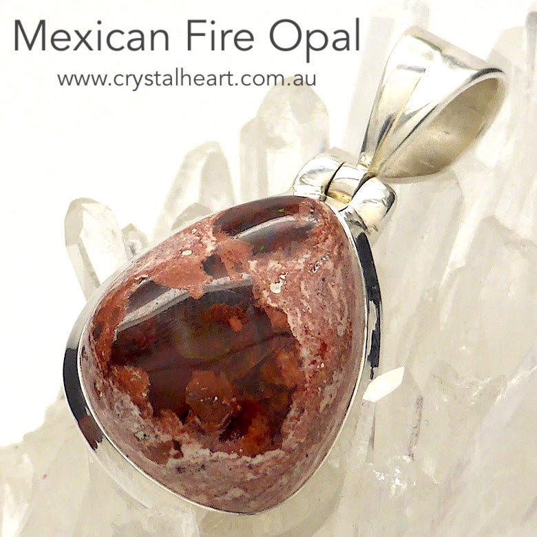 Mexican Fire Opal Pendant | 925 Sterling Silver | Deep Orange Red with green flash | Leo Libra Aries Leo Sagittarius | Luck Creativity Abundance Passion | Grounding, good for creative business | Genuine Gems from Crystal Heart Melbourne Australia since 1986