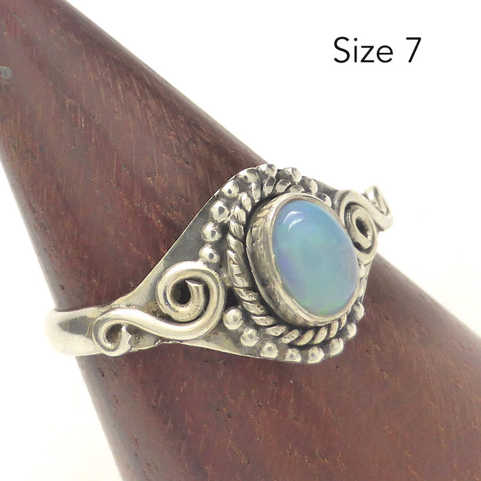 Ethiopian Opal Ring | Solid Tear Drop Cabochon | Simple but well made | 925 Silver | US Size 6.5,7,8 and 9 | Lightweight ting in ethnic setting | Genuine Gems from Crystal Heart Australia since 1986