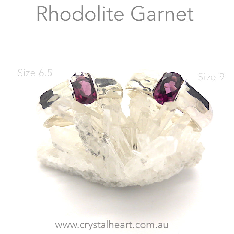 Rhodolite Garnet Ring | Faceted Oblong | 925 Sterling | Size 7.5 or 9 | Perfect Purple Pink | Quality Italian Design | centering energising | Spiritual Power | Crystal Heart Melbourne Australia since 1986