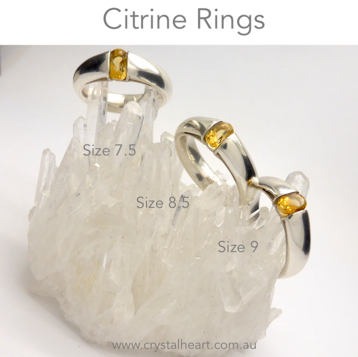 Citrine Ring Faceted Oblong | 925 Sterling Silver | US Size 7.5,8.5,9 | Quality Italian Unisex Design | Abundance | Positivity | Aries Gemini Leo Libra | Genuine Gems from Crystal Heart Melbourne Australia  since 1986