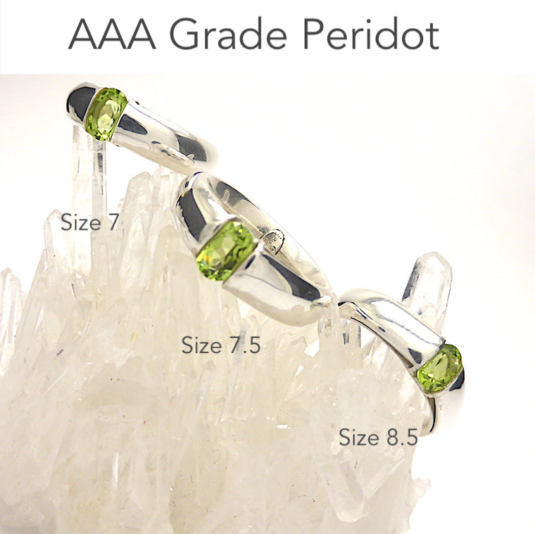 Peridot Ring, Faceted Oblong, 925 Silver, f1
