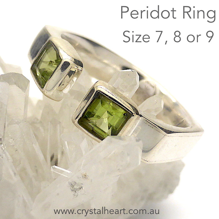 Peridot Ring, Faceted Squares, 925 Silver, f3