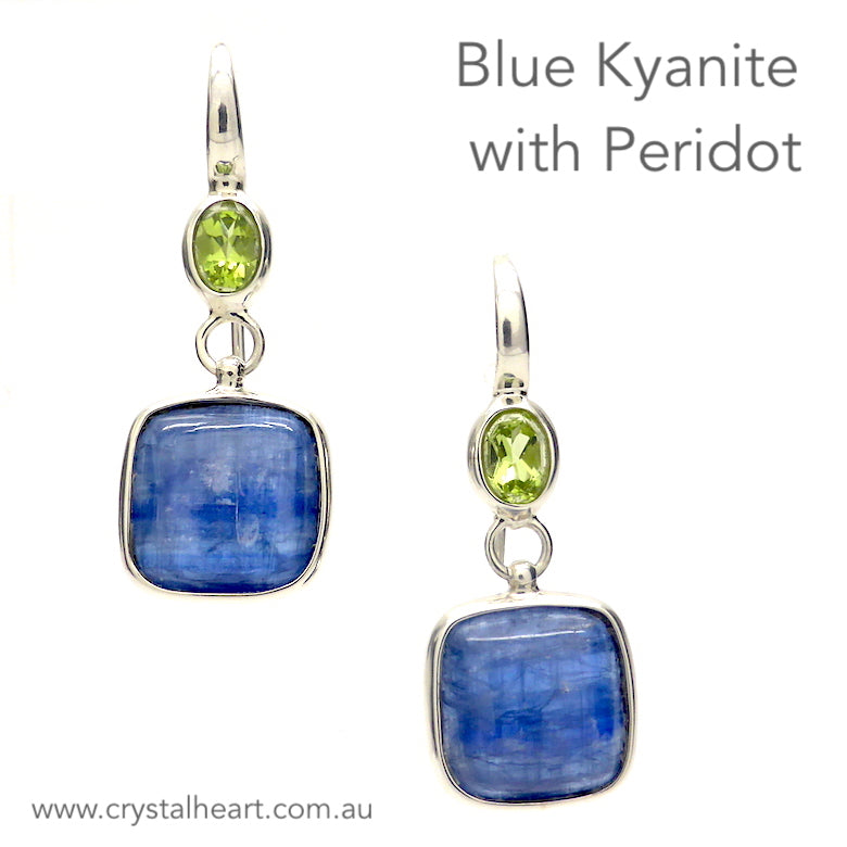 Blue Kyanite and Peridot Earrings | Square Kyanite Cabochon with Oval Peridot Above | Italian Designer Francesco | Unique handmade piece | Genuine Gems from Crystal Heart Melbourne Australia since 1986