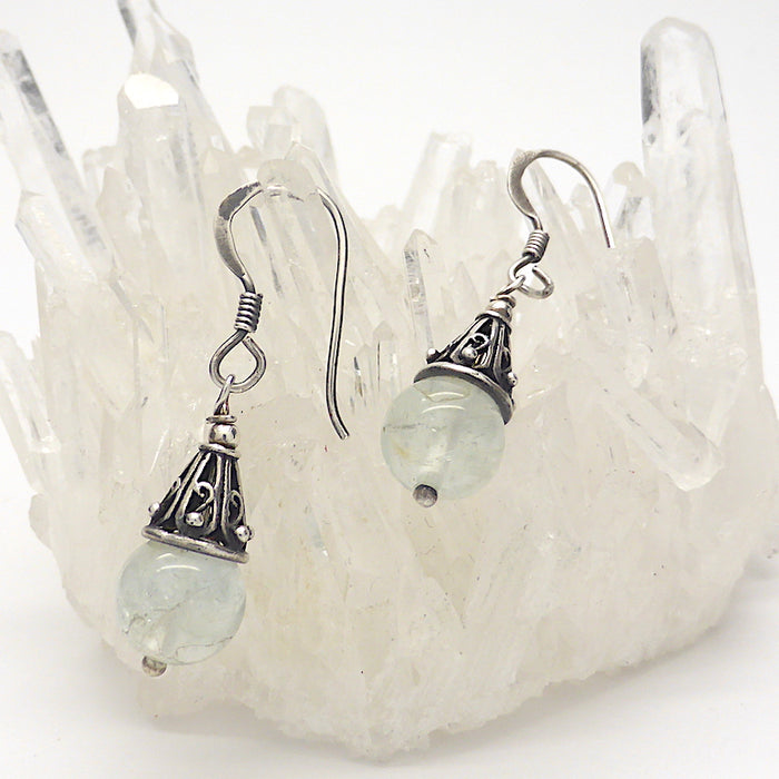 Petite Aquamarine Earrings | Small beads with Silver Cap | Pale colour but good energy | Genuine Gems from Crystal Heart Australia since 1986