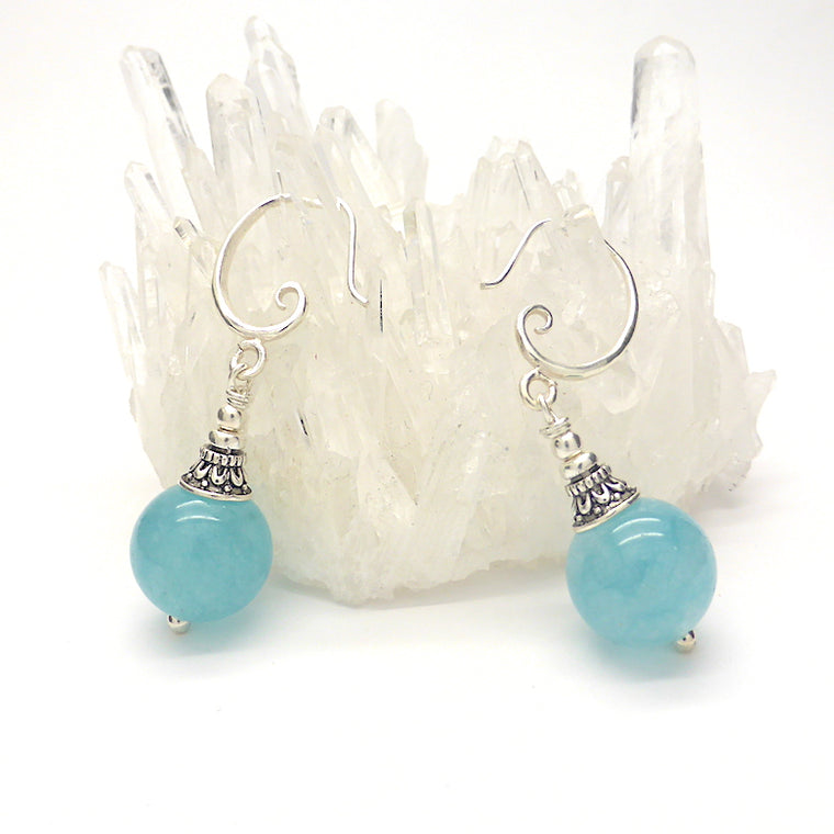 Aquamarine Earring, Bead 12 mm, 925 Silver, nx6