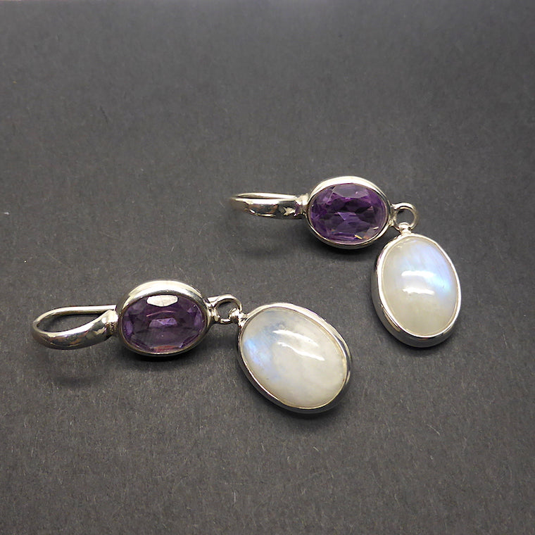 Moonstone Earring with Amethyst, 925 Silver f1
