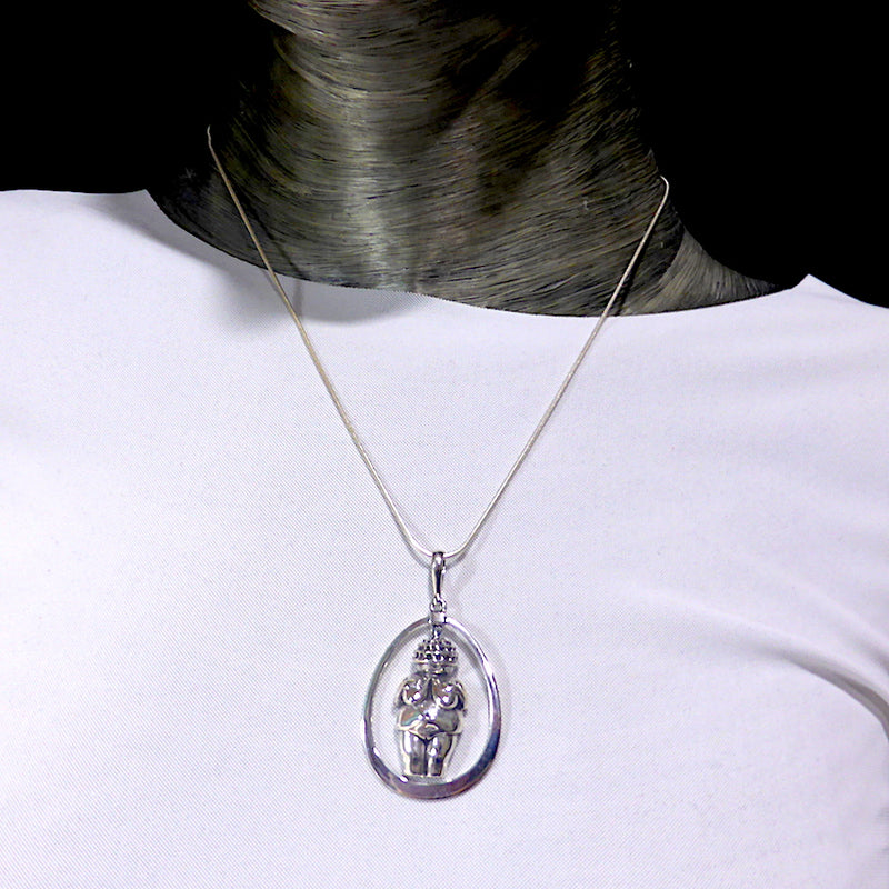 Accurate Copy in 925 Sterling Silver of the famous Stone Age Venus of Willendorf statue | Set as a Pendant in an Egg shaped frame | Feminine Power, Mystery, Fertility | Crystal Heart Melbourne Australia since 1986