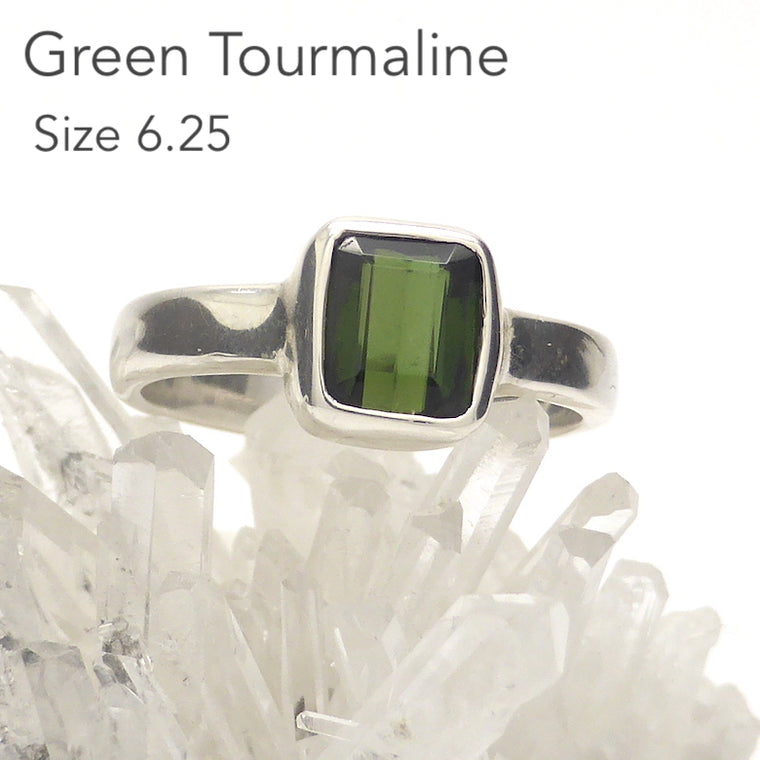 Tourmaline Ring, Green, 925 Silver, kt2