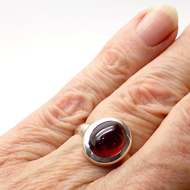 Garnet Ring | Red with slight dash of Orange | Cabochon Oval | 925 Sterling | US Size 7.25 | AUS size O | Centering and Energising | Spiritual Power | Genuine Gems from Crystal Heart Melbourne Australia since 1986
