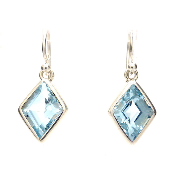 Blue Topaz Earring, Faceted Diamond, 925 Silver,  p1