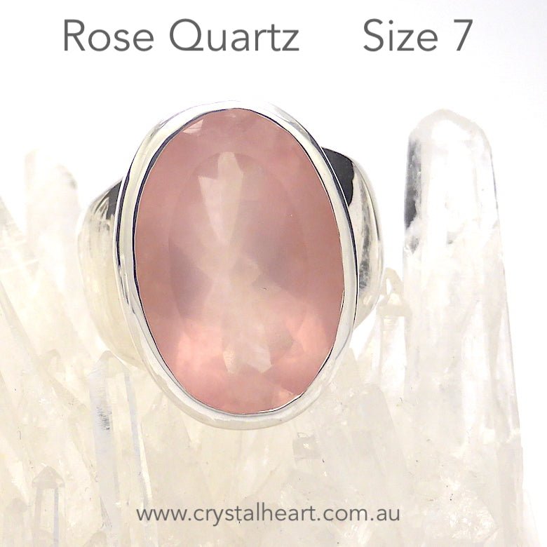 Rose Quartz Gemstone Ring | Faceted Oval | Madagascar | Deep Delicate Gemmy Pink | Wide Band | 925 Sterling Silver | US Size 7 | AUS Size N 1/2 | Star Stone Taurus Libra  | Genuine Gemstones from Crystal Heart Melbourne since 1986