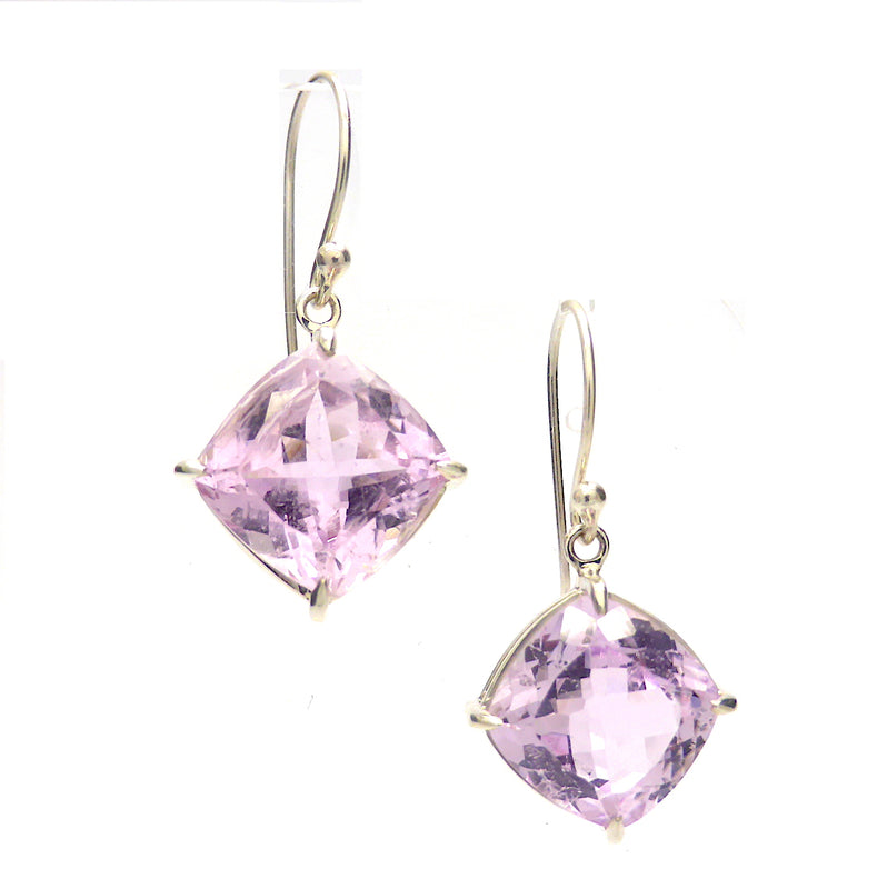 Kunzite Earring | Faceted Squares set as Diamonds | 925 Sterling Silver | Besel Set | Brilliant Sparkle | Wisdom of the Heart | Taurus Scorpio Leo | Genuine Gemstones from Crystal heart Melbourne Australia since 1986