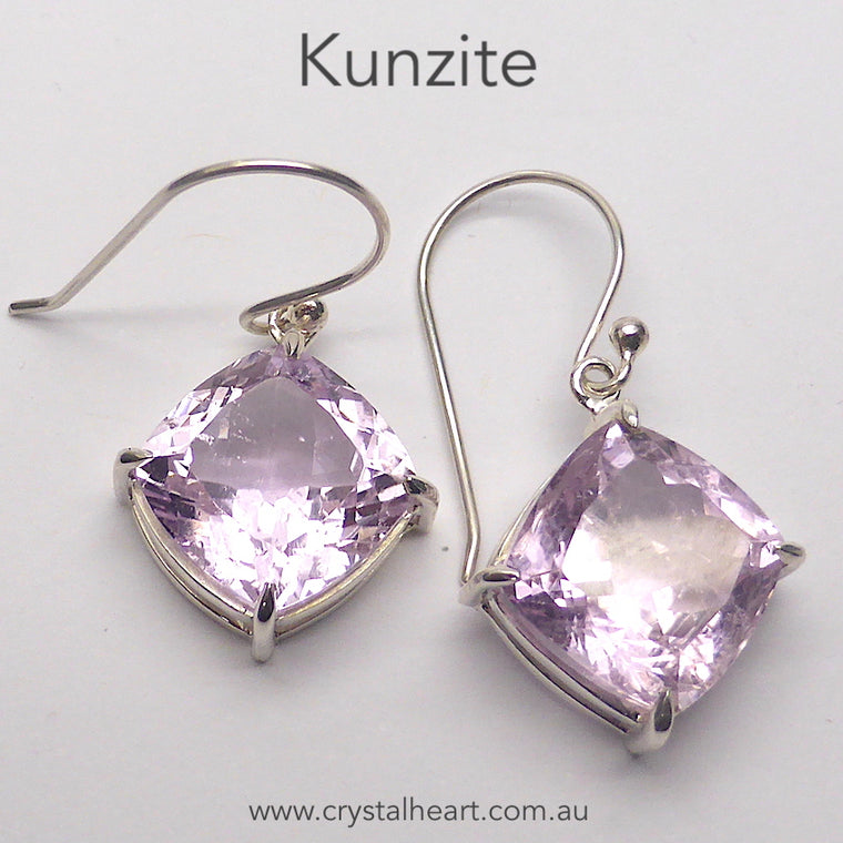 Kunzite Earring, Faceted Square, 925 Sterling Silver, p1