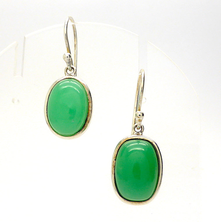 Chrysoprase Earrings, Oval Cabochon, 925 Silver p1