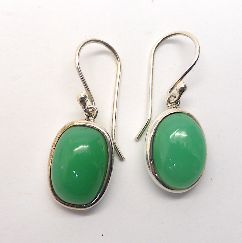 Chrysoprase Earrings, Cabochon Ovals | 925 Sterling Silver | Perfect Apple Green Good Translucency | AKA Australian Jade | Empowering healer | Genuine Gemstones from Crystal Heart Melbourne Australia since 1986