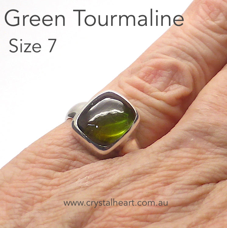 Tourmaline Ring, Green Cabochon, 925 Silver, p5
