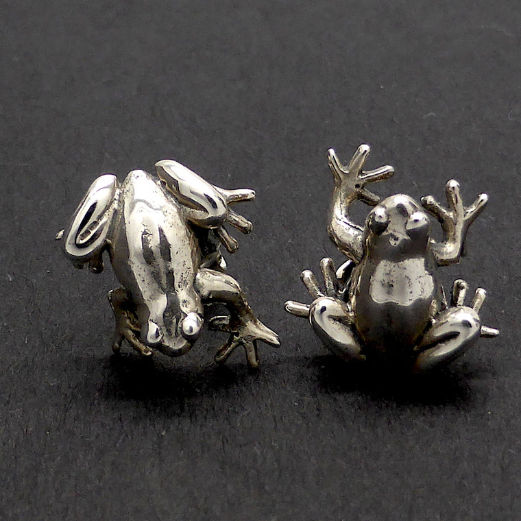 Stud Earrings, Frogs, 925 Sterling Silver