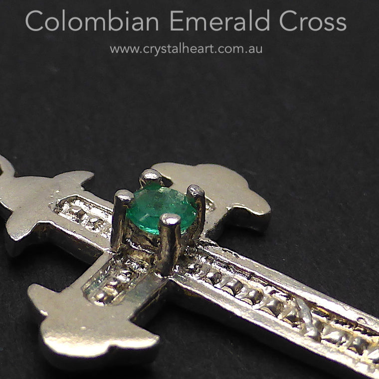 Emerald Cross Pendant, Colombian, 925 Silver