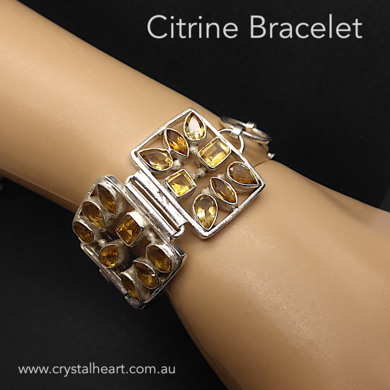 Citrine Bracelet, 5 Panels, Faceted Citrines, 925 Silver