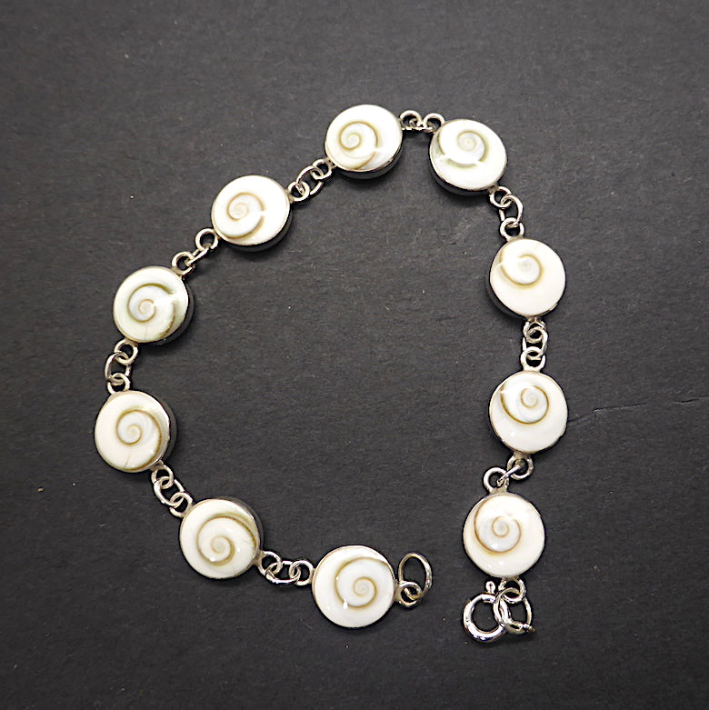 Cute bracelet with 10 shiva shells, all backed with  925 Sterling Silver | On Sale | Genuine gems from Crystal Heart Carlton Australia since 1986
