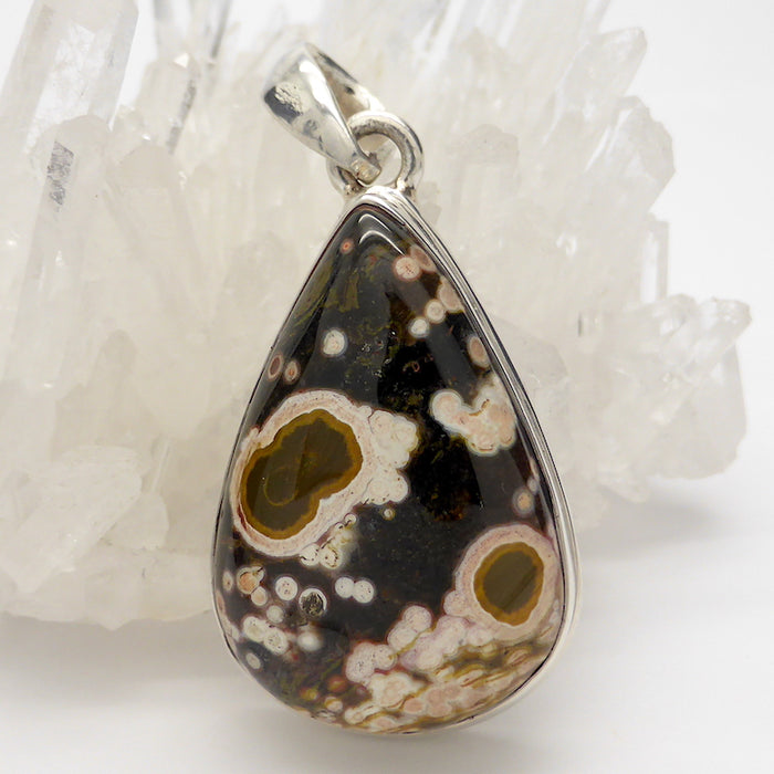 Ocean Jasper Pendant, Teardrop Cabochon | 925 Sterling Silver | Emotional  and Physical Healing | Stimulate Creativity | Genuine Gems from Crystal Heart Melbourne Australia since 1986