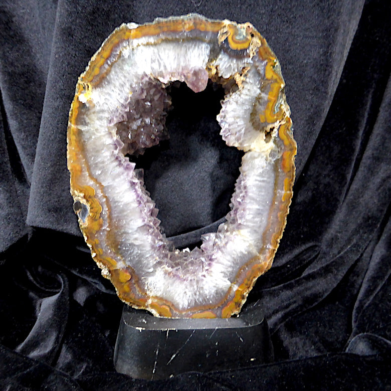 Slice of Amethyst Tunnel with quartz and agate surrounding | Comes with stand | Meditation or Decoration | Doorway to other planes | Genuine gems from Crystal heart Melbourne Australia since 1986