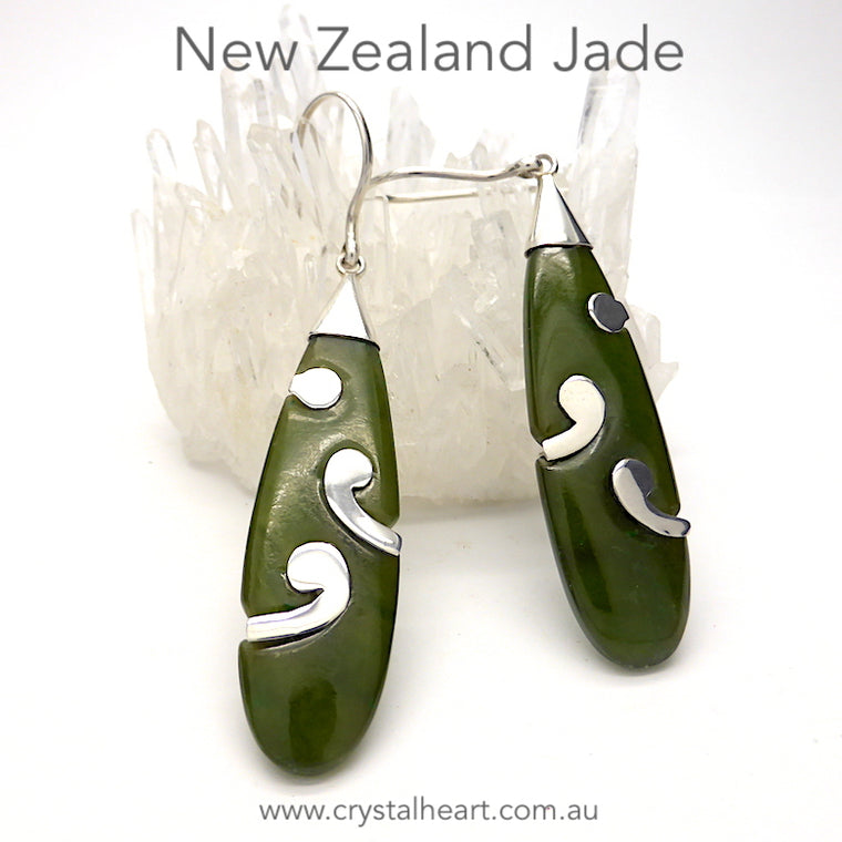 Jade Earring, New Zealand Jade, 925 Silver kt7