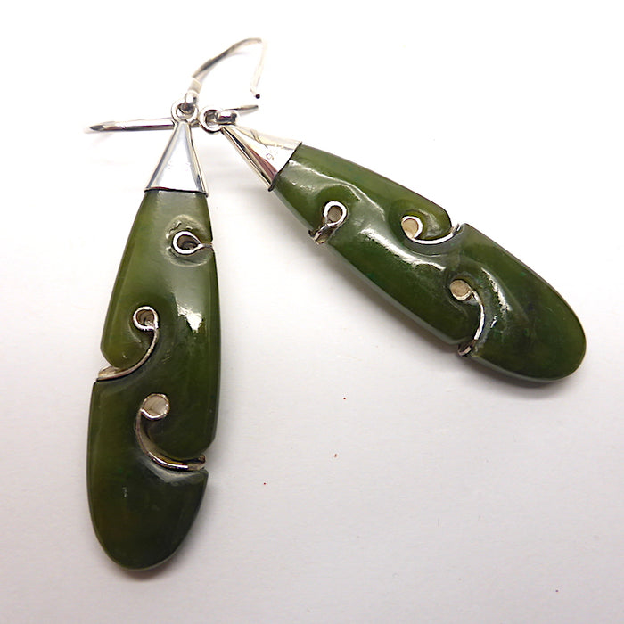 Hand carved Nephrite Jade Earrings |  Organically fitted 925 Silver Spirals giving the feeling of traditional Maori work | Genuine Gems from Crystal Heart Melbourne Australia since 1986