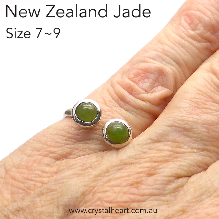 Jade Ring, Adjustable, 925 Silver