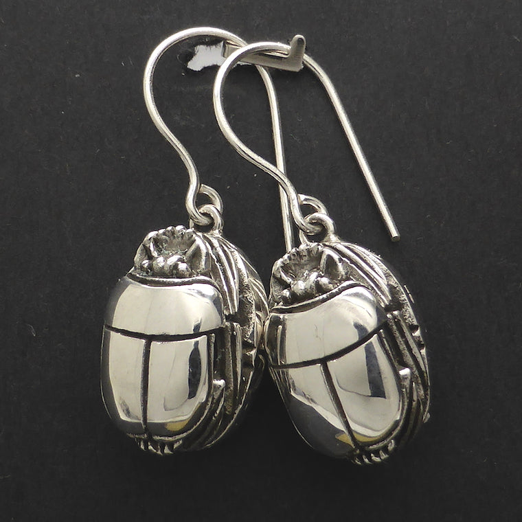 Scarab Earrings, 925 Sterling Silver kt