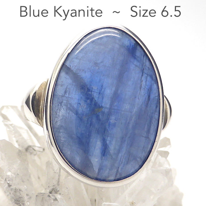 Blue Kyanite Ring | Clear Pale Blue | 925 Sterling Silver Setting | Uplift and protect the Heart | US Size 6.5, AUS Size M 1/2 | Taurus Libra Aries Gemstone | Genuine Gems from Crystal Heart Melbourne Australia since 1986