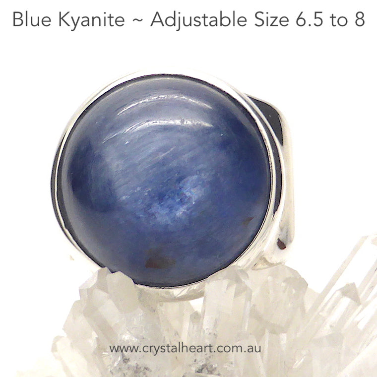 Blue Kyanite Ring, Round Cabochon, 925 Silver kt1